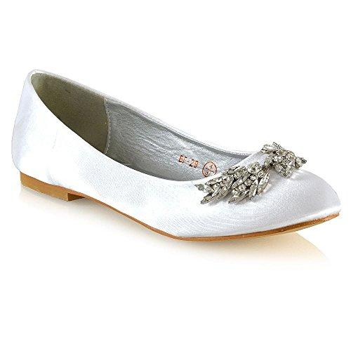 ESSEX GLAM Damen Schlüpfen Braut Ballerinas Frau Weiß Satin Diamant Schuhe EU 36 (Flach Ballett Gesteppte Leder)