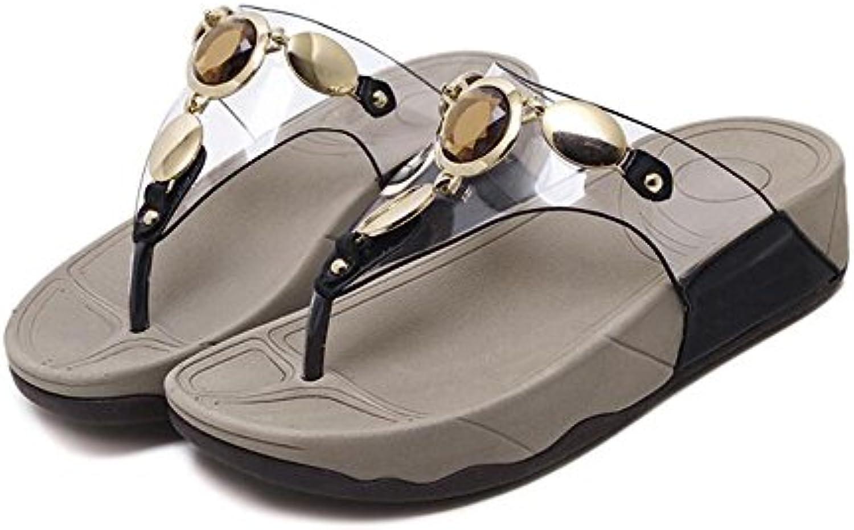 Feifei Zapatos de Mujer Verano PU Material Personalidad de la Moda Rhinestone Zapatillas de Playa Negro Beige...