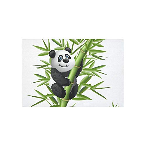 BAOQIN Tapisserie Smiling Cartoon Panda Hanging On Bamboo Tapestries Wall Hanging Flower Psychedelic Tapestry Wall Hanging Indian Dorm Decor for Living Room Bedroom 80 X 60 Inch (Wandbehang-quilt-rack)