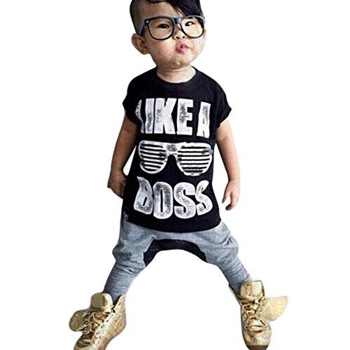 Kinderkleidung Jungen,Binggong Kleinkind Kinder Baby Jungen Outfit Kleidung Brief Drucken T-Shirt + Haren Lange Hosen 1 Satz Blusen Mode Baby Oberteile Shirt Weste (120, Schwarz) Neugeborene Mädchen Kurze Sätze