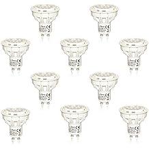 LÉDIS-Foco LED GU10, gran brillo-Lote de 10 casquillo GU 10-500lm para consumo, 7 w, 3000 K, luz blanca cálida, con certificación TÜV Garantía de 3 años