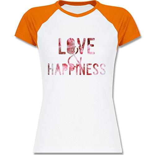 Statement Shirts - Love & Happiness Pink - zweifarbiges Baseballshirt / Raglan T-Shirt für Damen Weiß/Orange