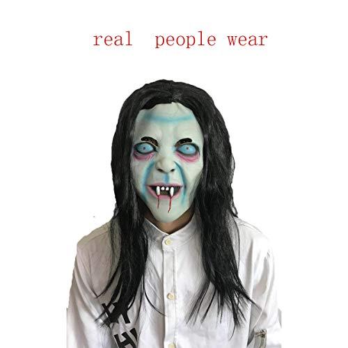 Story of life Halloween Langhaar Horror Hexe Maske Ghost Masquerade Performance Show Dress Up Requisiten (Halloween Dress Up Beängstigend Games)