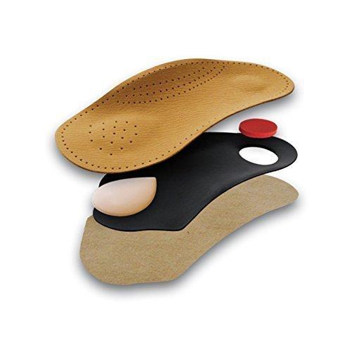 Green-Feet Tacco Nova, 3/4 Lange anatomische Ledereinlagen, dünne Leder-Schuheinlagen, orthopädisch, Fersenpolster, braun (41)