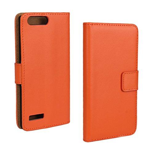 UKDANDANWEI Huawei Ascend P7 mini Hülle - Book-Style Wallet Case Flip Cover Etui Tasche Case mit Standfunktion Für Huawei Ascend P7 mini Arancione