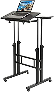 Stansom Mobile Standing Desk, Adjustable Rolling Laptop Desk & Computer Monitor Stand with Wheels Home Off
