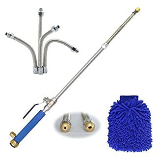 DMCSHOP Magic Power Washer Wand - High Pressure Water Hose Nozzle, Flexible Wand, Extendable Garden Hose Watering Sprayer for Car Wash and Window Washing, Scrubbing Mitt, 2 Tips 27 Inches