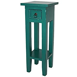 LioLiving®, Telefontisch Telefonkonsole Orkney im Vintage-Look aus Mahagoniholz (pastellgrün) (#400190)