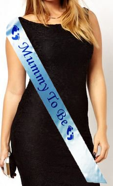 Mummy to Be Baby Shower Party Sash Satin Blue