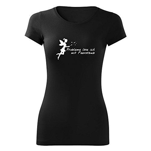Damen Probleme löse ich mit Feenstaub Shirt - schwarz & weiß - Fashion T-Shirt mit Motiv - Neu XS - XL Schwarz