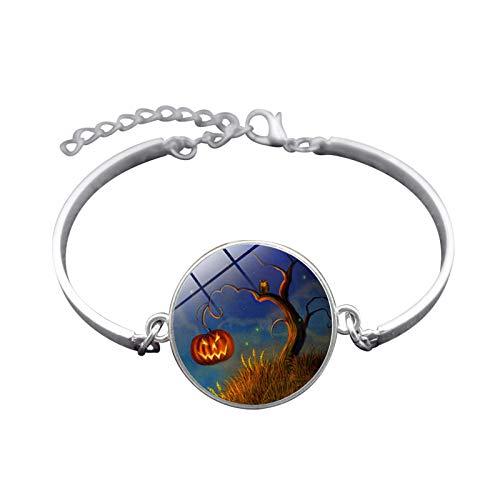 te Halloween Hexe Zeit Gem Armband Silber-Legierung Armband Armband Damen Herren Geschenk ()
