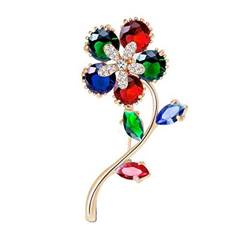 2PCS Womens Les Broches élégantes et Pins avec des cristaux, fleurs colorées