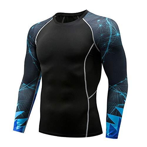 Herren Pullover Schwarz Kompressionsshirt Langarm Funktionsshirt Fitness atmungsaktiv T-Shirt Sport Fitnessshirt Jogging…