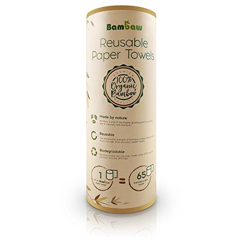 Bambus Küchenrolle | Waschbare Bambustücher | Saugstarke und Reißfeste Haushaltstücher | küchenrolle Wiederverwendbar | 100 % Biologisch abbaubar | Papiertücher | schnelltrocknend | Bambaw (Bambu Bambus)