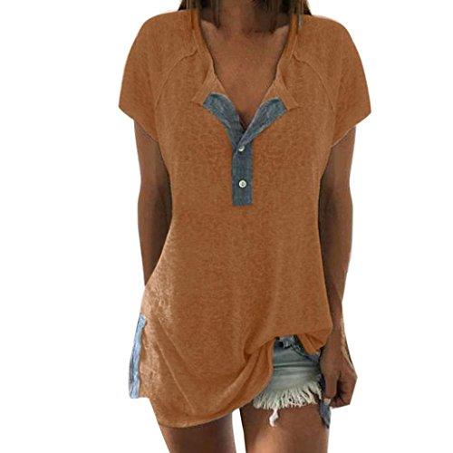 VJGOAL Damen T-Shirt, Damen Mode Kurzarm Lose Beiläufige Knopf Bluse Mädchen Sommer Tank Tops (5XL / 54, A-Gelb)