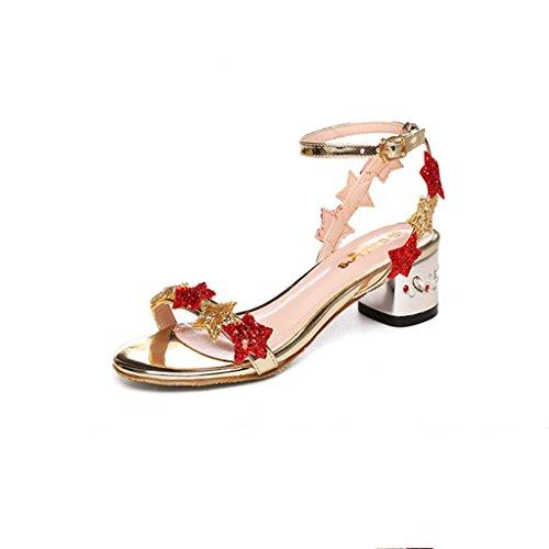BaiLing Damen Sommer Sandalen / Chunky Ferse Gürtelschnalle / kleine Größe weibliche Schuhe Gold