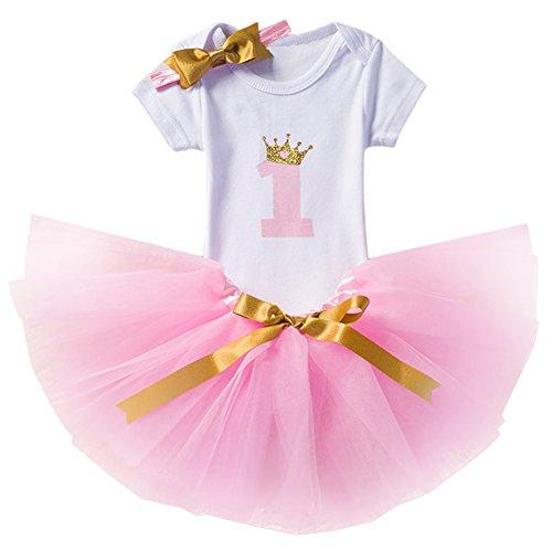 Baby Mädchen Ist es Mein 1. / 2. Geburtstags Prinzessin 3 pcs Outfits Spielanzug Rock Tütü Pettiskirt mit Bowknot Stirnband Neugeborene Säuglings Kleinkind Partykleid Fotoshooting Kostüm