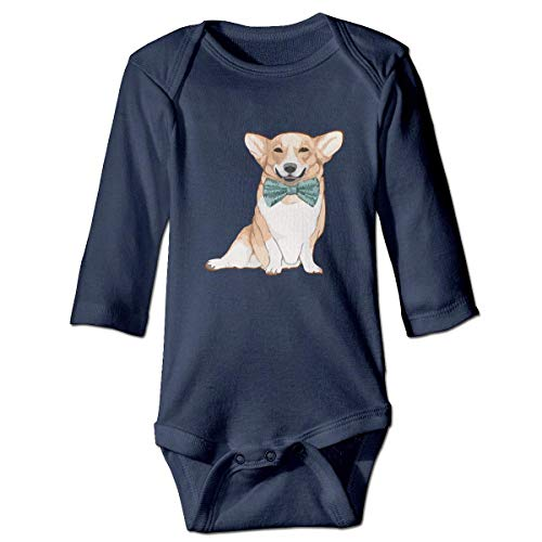 by Body, Cute Bow-tie Corgi Dog Baby Infant Long Sleeve Onesies Bodysuits ()