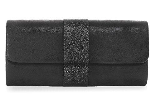 VINCENT PEREZ Damen Clutch Abendtasche Unterarmtaschen Umhängetasche aus Kunstleder Vintage Glitzer-Optik mit abnehmbarer Kette (120 cm) 26 x 12 x 4 cm (B x H x T), Farbe:Schwarz