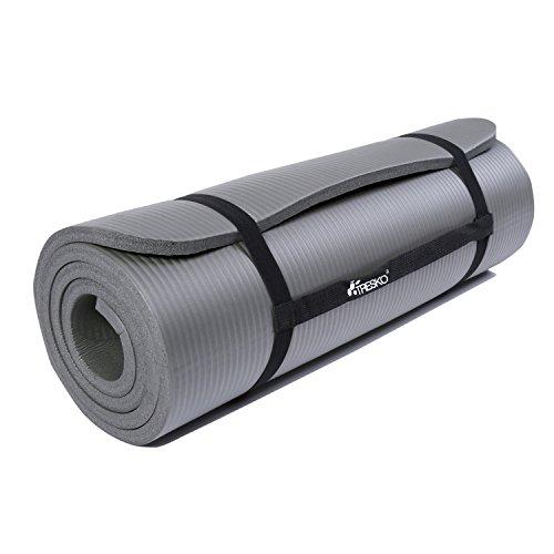 TRESKO Fitnessmatte Yogamatte Pilatesmatte Gymnastikmatte in 6 Farbvarianten / Maße 185cm x 60cm in 2 Stärken / Phthalates-getestet / NBR Schaumstoff / hautfreundlich, anschmiegsam, kälteisolierend (Grau, 185 x 60 x 1.5 cm)