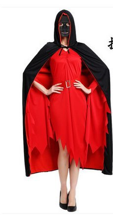 Halloween - show Magic fc Cape cos erwachsenen Schwarzen umhang Tod vampir horror.(Cape 1,7 m + Maske ()