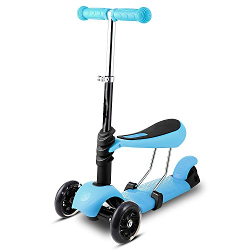 Befied LED 3 Räder Mini Kick Scooter mit Verstellbaren Höhensitz 2 in 1 Klappbar Roller Tretroller Kinderroller für Kinder Wheel 120mm (Roller Mini Kick)
