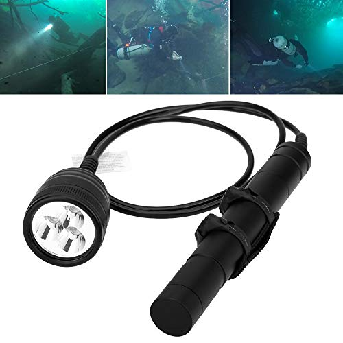 SecurityIng® 3000LM Primary Canister Tauchlampe, 3X Cree XM-L2 LED Gerätetauchen Taschenlampe Unterwasser 150M für professionelles Tauchen/Höhlentauchen (Batterien Nicht im Lieferumfang enthalten)