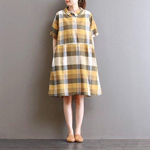mittlerer länge karierten hemd kragen, kurzärmeliges kleid Gelb