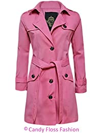 CANDY FLOSS NEW LADIES TRENCH BUTTON WOMENS DOUBLE BREASTED MAC BELTED COAT JACKET TOP
