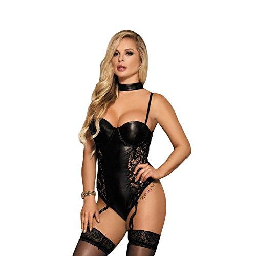 946197b5ef5 Sexy Empire - Conjunto de lencería sexy de encaje con tirantes + calcetines  negros 8 –