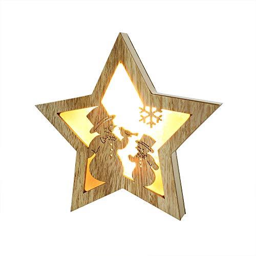 TianranRT Holz Fünf Spitze Stern LED Beleuchtung Weihnachten Halloween Dekoration Nachttisch Lampe Hölzerne Fünfspitzige Führte Lichter Nachttischlampe (A) (Hölzerne Lampe)
