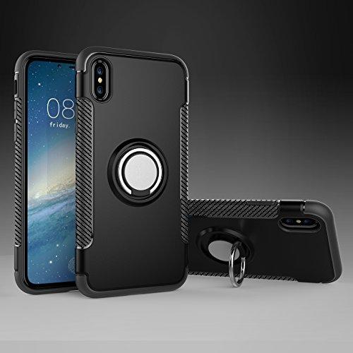 iPhone X Hülle, iPhone X Schutzhülle 360° Kickstand Magnetic Premium Silicone Bumper Case, Silikon TPU + PC Farbschichtschutz Handyhülle mit 360° Drehbarem Metallhalter, Tasche mit Grip Ring Halter, M Schwarz