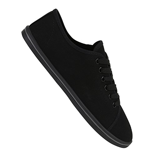 Sportliche Herren Sneakers Low Textil Schuhe Schnürer Freizeit Schwarz Grau