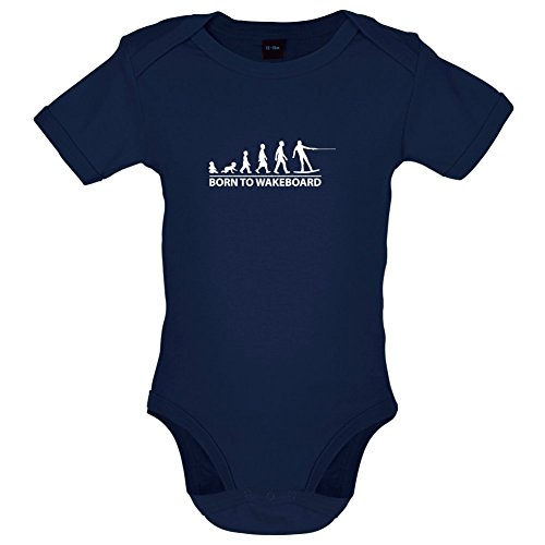 Born To Wakeboard - Lustiger Baby-Body - Marineblau - 6 bis 12 Monate