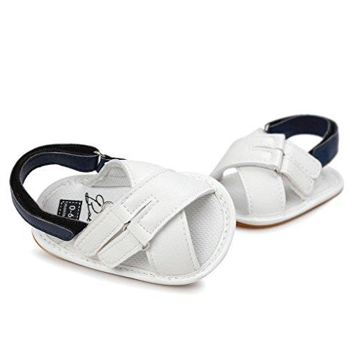 OverDose Unisex-Baby weiche warme Sohle Leder / Baumwolle Schuhe Infant Jungen-Mädchen-Kleinkind Schuhe 0-6 Monate 6-12 Monate 12-18 Monate G-PU Leder-Weiß