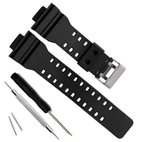 Correa de repuesto de resina natural para reloj Casio G-Shock GD120/GA-100/GA-110/GA-100C (Black)