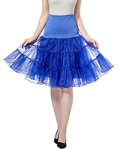 Petticoat Vintage Retro Reifrock Unterrock Petticoat Underskirt Für Hochzeit Braut Rockabilly Kleid - Hohe Taille Faltenrock Rock Adult Tutu Tanzen Rock (Royal Blue, S)