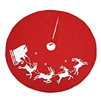 Bamsod Christmas Tree Skirt, 35 inches Non-Woven Fabric Rustic Xmas Holiday Decoration (Deer)