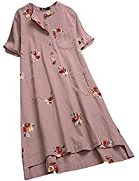 ff7c9cf408017 Mounter-Swimwear Women Plus Size Pullover Dress Long Blouse Tops, Ladies  Short Sleeve Linen
