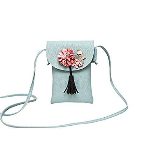 TPulling Frauen-Neue Art- Und Weisefeste Stilvoll Raffiniert Applique Floral Mini Handtasche Handy Tasche (blau)