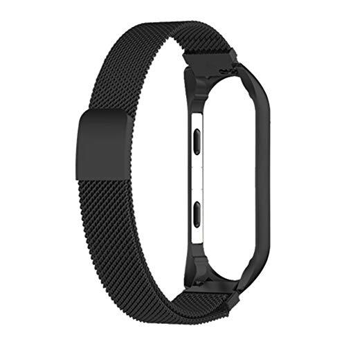 Hongfutong Ersatz-Armband für Xiaomi Smart Miband 3rd (wasserdicht, nur Armband, Nicht im Lieferumfang enthalten), Black 12 * 180MM Mesh Magnet Metal -