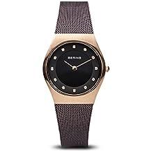 cb4e362beaf8 Bering Classic - Reloj analógico de mujer de cuarzo con correa de acero  inoxidable negra -