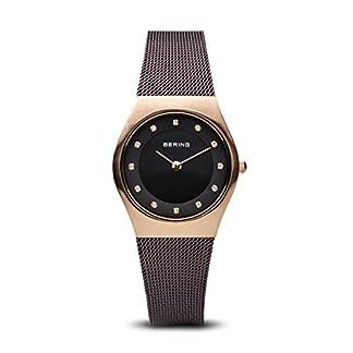 Bering Classic – Reloj analógico de mujer de cuarzo con correa de acero inoxidable negra – sumergible a 50 metros