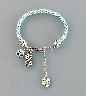 Bracelet femme vert turquoise avec ananas et perle à parfumer, bijoux cadeaux, bracelet, bracelet ananas, idée cadeau femme, bijou ananas