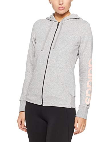adidas Damen Essentials Linear Full Zip Hooded Kapuzen-Jacke, Grey Heather/Haze Coral, S - Grey Hooded Full Zip Sweatshirt