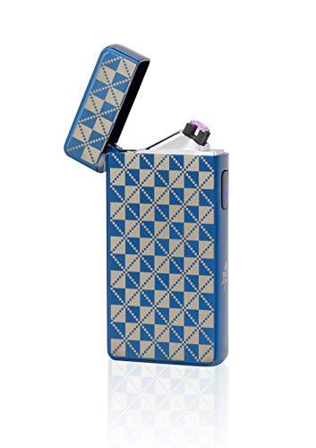 TESLA Lighter T13   Lichtbogen Feuerzeug, Plasma Double-Arc, elektronisch wiederaufladbar, aufladbar mit Strom per USB, ohne Gas und Benzin, mit Ladekabel, in Edler Geschenkverpackung, Blau Kariert