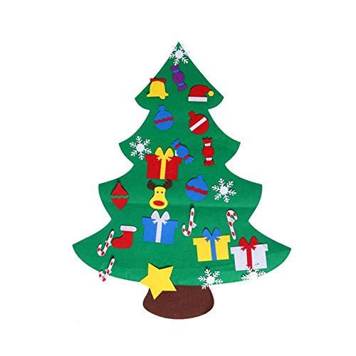 (DIY Filz Weihnachtsbaum Set mit Ornamenten für Neujahr Kinder Geschenke Spielzeug Spielzeit Kinder Baum Weihnachts dekoration Ornamente Jahr für Familie Abnehmbare Wall Decor)
