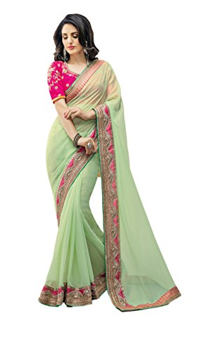 Perfect Resource Shimmer Georgette Pastel Green Saree With Unstitched Blouse