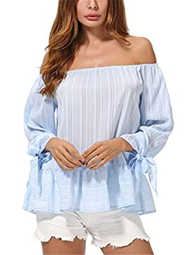 Blusa de Rayas Azul Elegante para Mujer Blusa de Gasa Plisadas para Damas Blusa de Gasa de Moda
