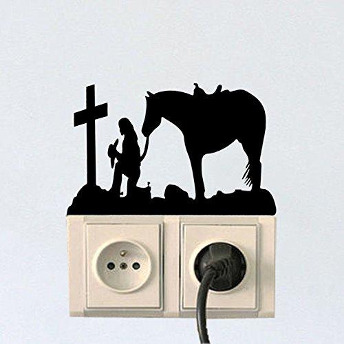 euz mit Pferd Mode Vinyl Wandschalter Aufkleber Aufkleber 5 WS 1514 (Halloween Cowgirl)